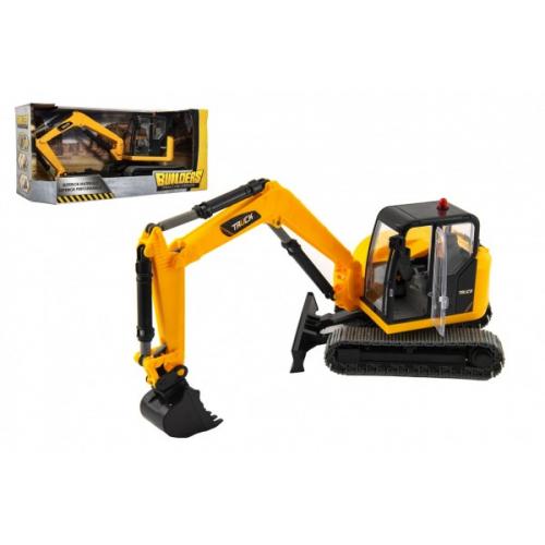 Stavební stroj bagr pásový plast 42cm v krabici 47x22x19cm - Cena : 476,- Kč s dph