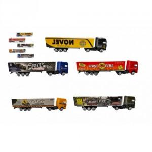 Auto kamion s návěsem kov/plast 20cm na volný chod mix druhů v plast. krabičce 20x5x3cm 24ks v boxu - Cena : 79,- Kč s dph