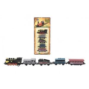 Sada lokomotiva a vagónky 5ks kov/plast 8cm na zpětné natažení 4 druhy na kartě - Cena : 129,- Kč s dph