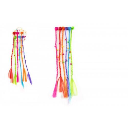 Sponky/Skřipce do vlasů 6ks plast s barevnými copánky 30cm 2druhy v sáčku - Cena : 44,- Kč s dph
