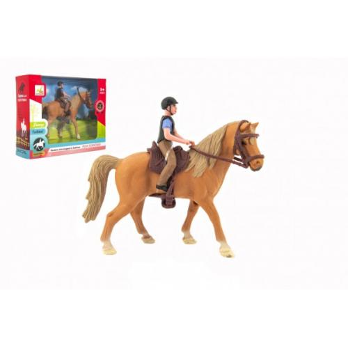 Kůň + žokej plast 15cm v krabici 20x16x5,5cm - Cena : 143,- Kč s dph