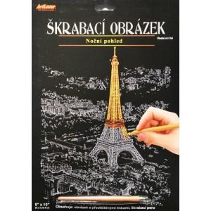 Škrabací obrázek - noční výhled - Eiffelka - Cena : 99,- Kč s dph
