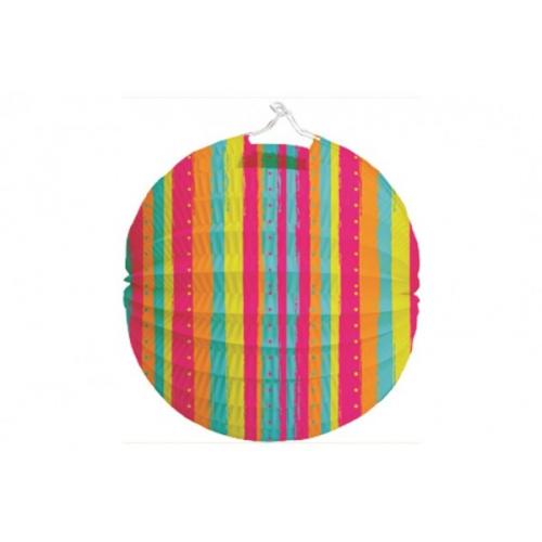 Lampion průměr 21cm pruhovaný v sáčku (bez hůlky) karneval - Cena : 24,- Kč s dph