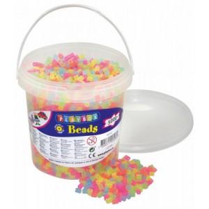 Zažehlovací korálky- 5000 ks korálků- kbelík, neonové-průhledné barvy - Cena : 149,- Kč s dph