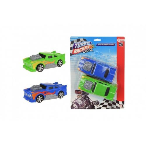 Auto závodní 2ks plast 14 cm na setrvačník na kartě 21x28cm - Cena : 98,- Kč s dph