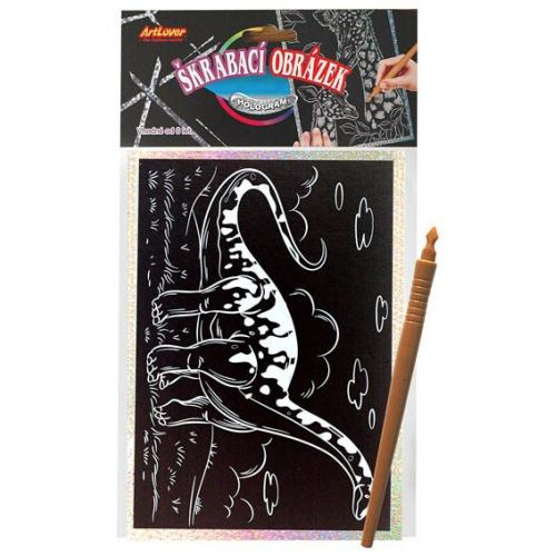 Škrabací obrázek- Holografický 20x15 cm- dinosaurus - Cena : 59,- Kč s dph