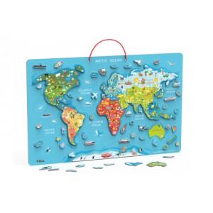 Dřevěná mapa světa s tabulí - Cena : 785,- Kč s dph