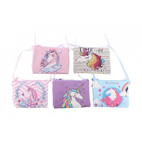 Peněženka dívčí s jednorožcem látková 12x9 cm mix barev - Cena : 35,- Kč s dph