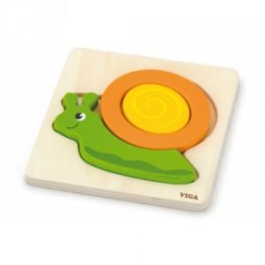 Dřevěné puzzle pro nejmenší - šnek - Cena : 82,- Kč s dph