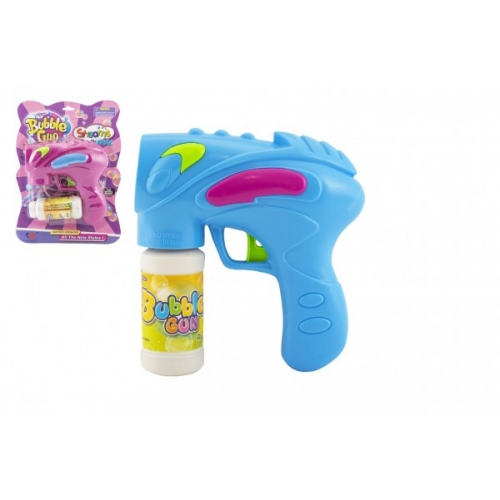 Pistole bublifuk s náplní plast 15cm na baterie asst 2 barvy na kartě - Cena : 143,- Kč s dph