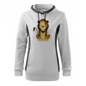 Mikina Kangaroo - Veselá zvířátka - Lvíček, vel. M - bílá - Cena : 379,- Kč s dph