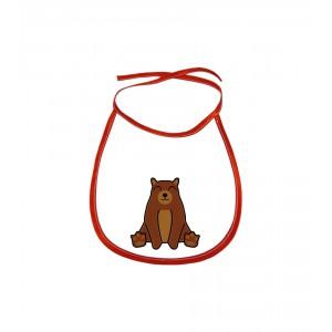 Dětský bryndák Tučňák a jeho kamarádi - #9 medvěd hnědý - červený - Cena : 69,- Kč s dph