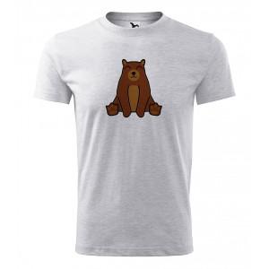 Pánské Tričko Classic New - Tučňák a jeho kamarádi - #9 medvěd hnědý, vel. S - šedý melír - Cena : 249,- Kč s dph
