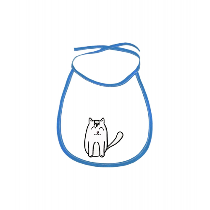 Dětský bryndák Tučňák a jeho kamarádi - #11 kočka domácí - modrý - Cena : 69,- Kč s dph