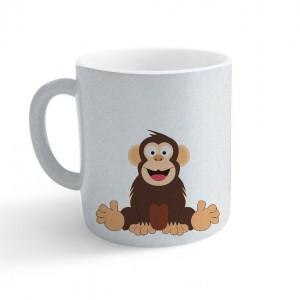 Hrnek Veselá zvířátka - Šimpanz - třpytivý stříbrný - Cena : 159,- Kč s dph