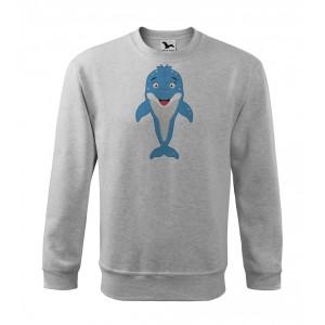 Mikina Essential - Veselá zvířátka - Delfínek, vel. 10 let - šedý melír - Cena : 459,- Kč s dph